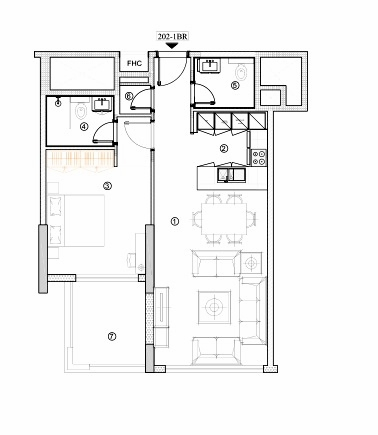 Planning of the apartment 1BR, 792.23 in Avenue Residence 4, Dubai