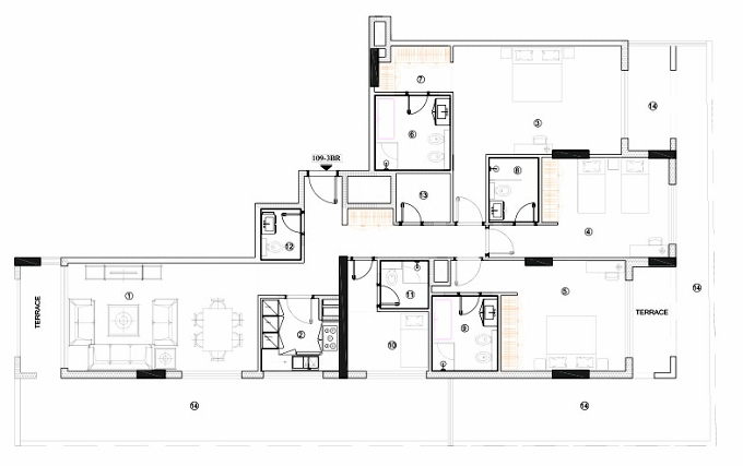Planning of the apartment 3BR, 1982.94 in Avenue Residence 4, Dubai