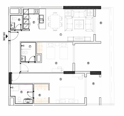 Planning of the apartment 2BR, 1183.18 in Avenue Residence 4, Dubai