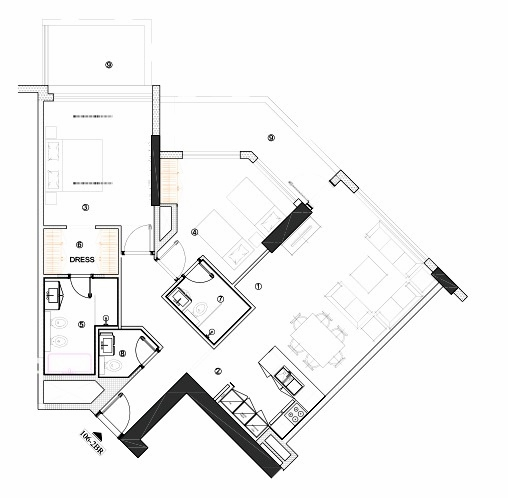 Planning of the apartment 2BR, 1240.23 in Avenue Residence 4, Dubai