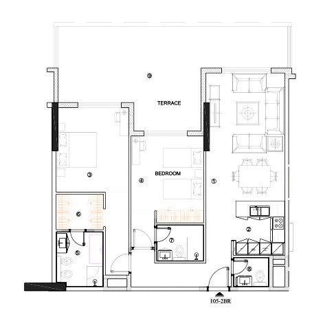 Planning of the apartment 2BR, 1212.46 in Avenue Residence 4, Dubai
