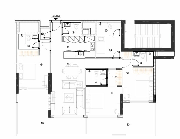 Planning of the apartment 3BR, 1549.8 in Avenue Residence 4, Dubai