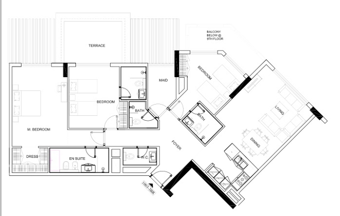 Planning of the apartment 3BR, 1798.88 in Avenue Residence 4, Dubai