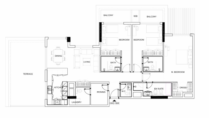 Planning of the apartment 3BR, 1713.31 in Avenue Residence 4, Dubai