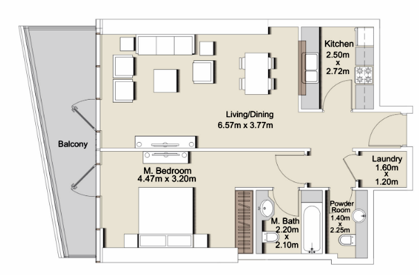 Planning of the apartment 1BR, 925 in RP Heights, Dubai