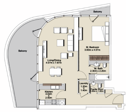 Planning of the apartment 1BR, 1355 in RP Heights, Dubai