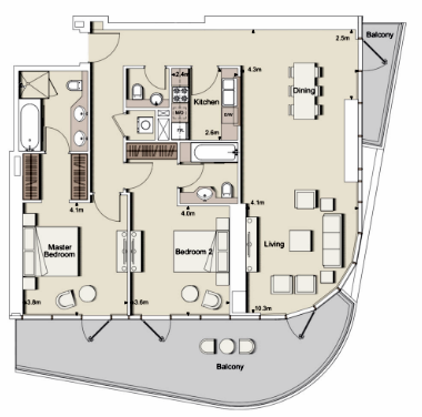 Planning of the apartment 2BR, 1787 in RP Heights, Dubai