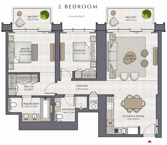 Planning of the apartment 2BR, 1314.92 in The Grand, Dubai