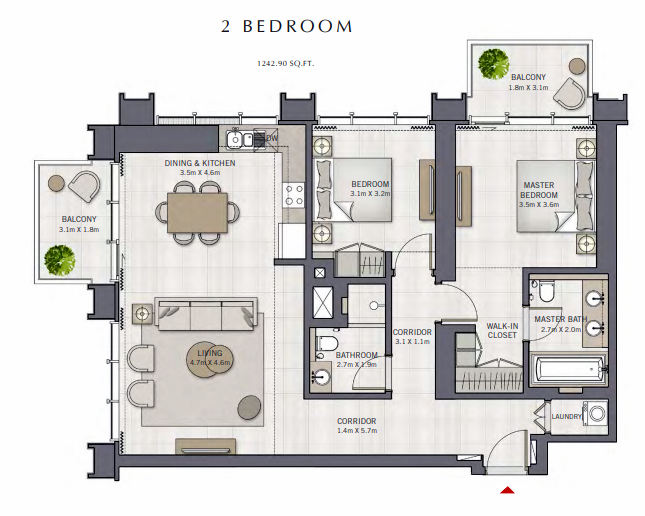 Planning of the apartment 2BR, 1242.9 in The Grand, Dubai