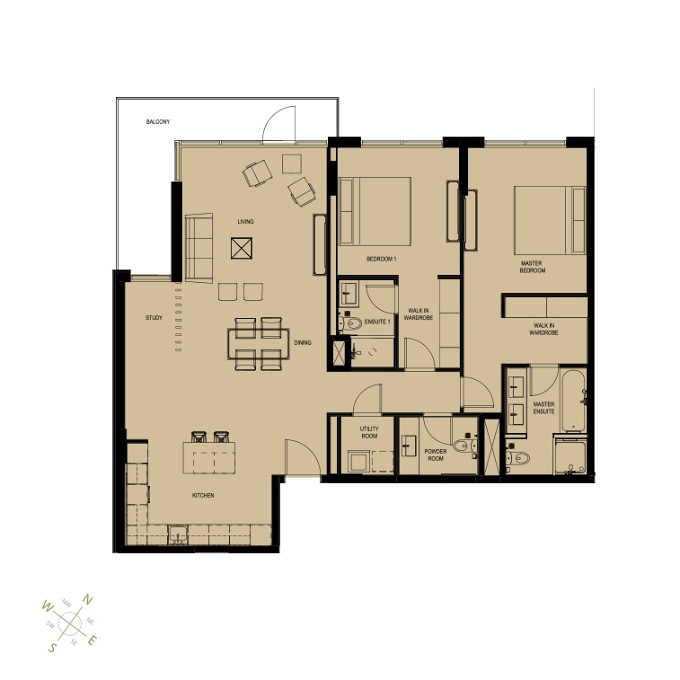 Planning of the apartment 2BR, 1370 in Q Gardens Boutique Residences, Dubai