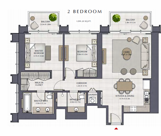 Planning of the apartment 2BR, 1299.2 in The Grand, Dubai