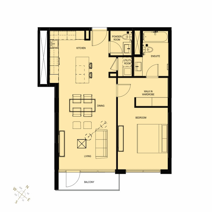 Planning of the apartment 1BR, 906 in Q Gardens Boutique Residences, Dubai