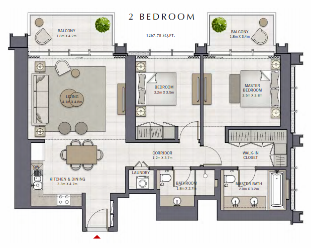 Planning of the apartment 2BR, 1267.78 in The Grand, Dubai