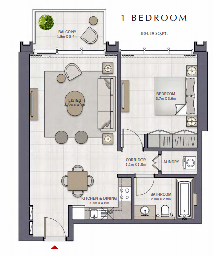 Planning of the apartment 1BR, 804.39 in The Grand, Dubai