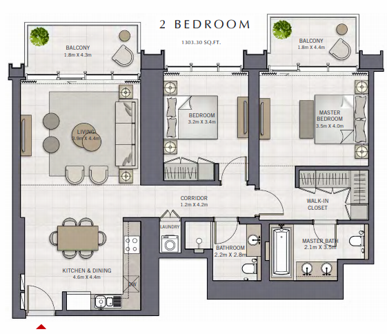 Planning of the apartment 2BR, 1303.3 in The Grand, Dubai