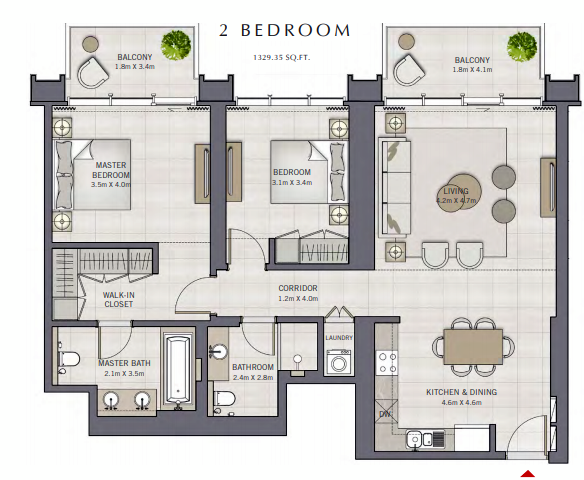 Planning of the apartment 2BR, 1329.35 in The Grand, Dubai