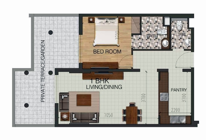 Planning of the apartment 1BR, 996.52 in Pantheon Boulevard, Dubai