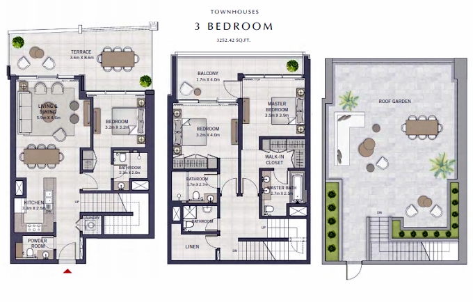 Planning of the apartment Townhouses, 3252.42 in The Grand, Dubai