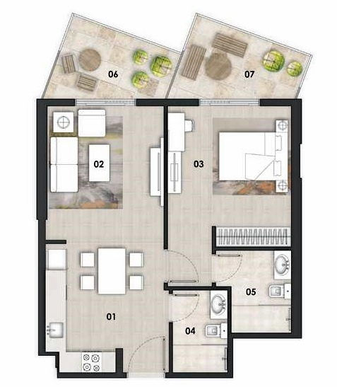 Planning of the apartment 1BR, 760 in Binghatti Gateway, Dubai