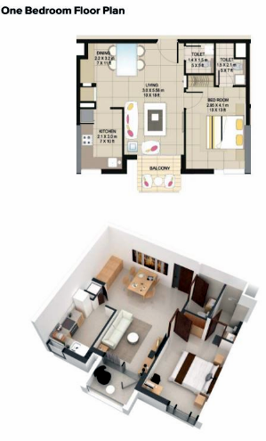 Planning of the apartment 1BR, 497 in Suncity Homes, Dubai