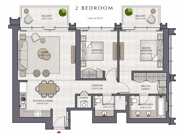 Planning of the apartment 2BR, 1286.29 in The Grand, Dubai