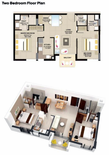 Planning of the apartment 2BR, 725 in Suncity Homes, Dubai