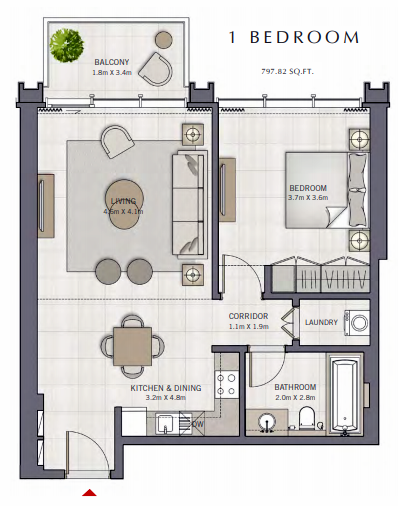 Planning of the apartment 1BR, 797.82 in The Grand, Dubai