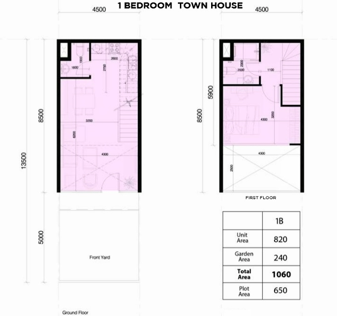 Planning of the apartment 1BR, 1060 in Rukan Lofts, Dubai