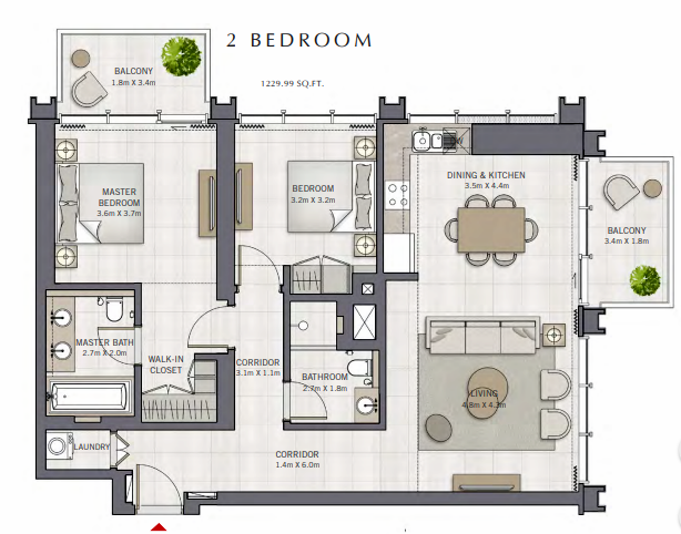 Planning of the apartment 2BR, 1229.99 in The Grand, Dubai