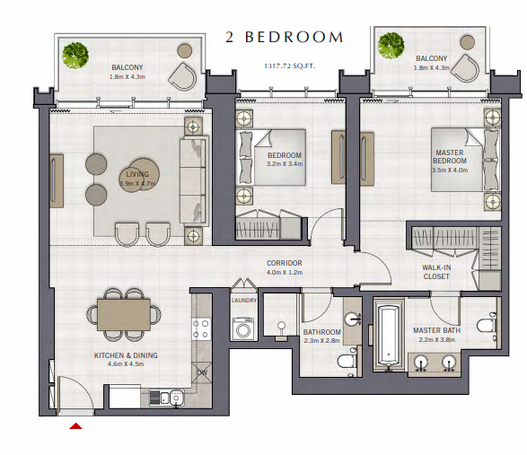 Planning of the apartment 2BR, 1317.72 in The Grand, Dubai