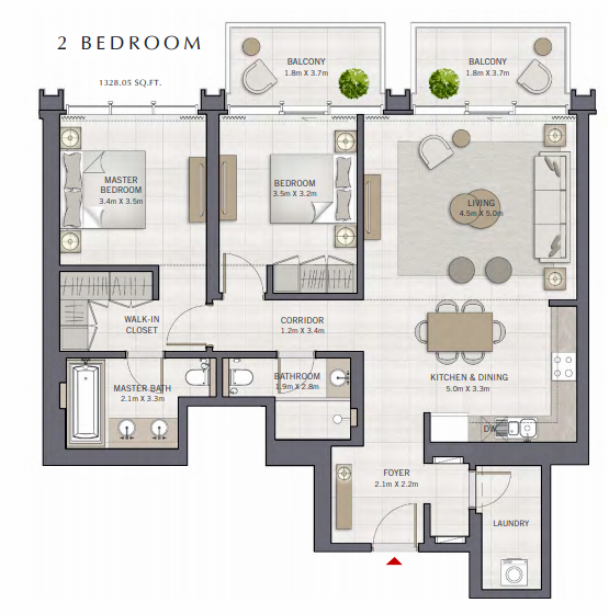 Planning of the apartment 2BR, 1328.05 in The Grand, Dubai