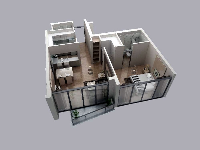 Planning of the apartment 1BR, 655 in V2, Dubai