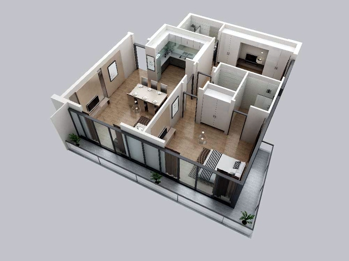 Planning of the apartment 2BR, 1066 in V2, Dubai