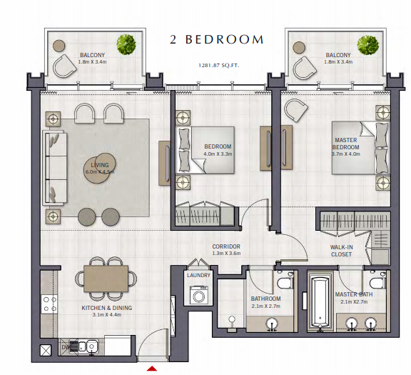 Planning of the apartment 2BR, 1281.87 in The Grand, Dubai