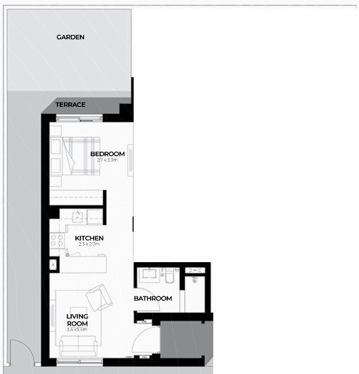 Planning of the apartment Studios, 398.27 in Al Ghadeer, Abu Dhabi