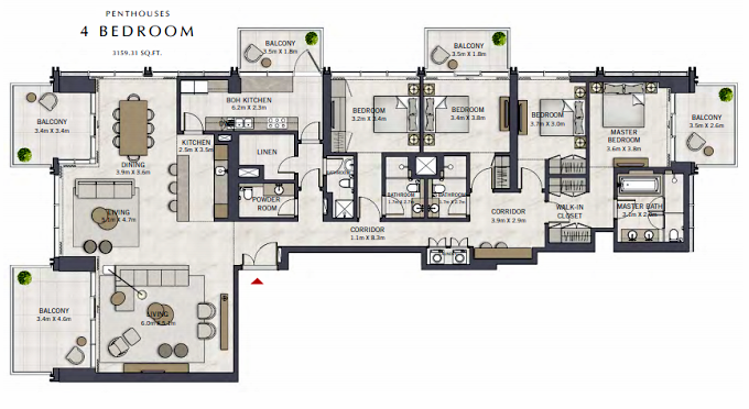 Planning of the apartment Penthouses, 3159.33 in The Grand, Dubai