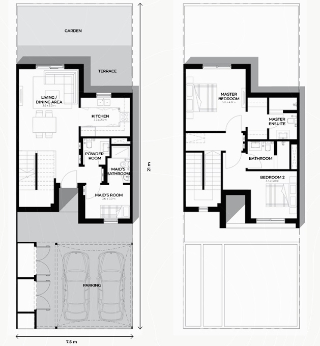 Planning of the apartment Townhouses 3BR, 1345.49 in Al Ghadeer, Abu Dhabi