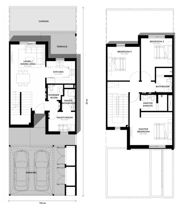 Planning of the apartment Townhouses 3BR, 1636.11 in Al Ghadeer, Abu Dhabi