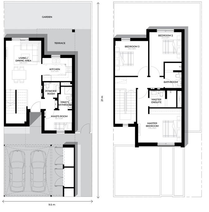 Planning of the apartment Townhouses 3BR, 1668.41 in Al Ghadeer, Abu Dhabi