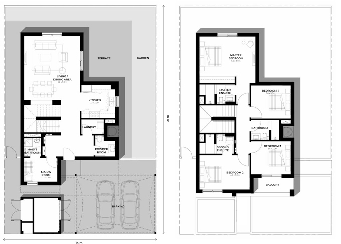 Planning of the apartment Villas 4BR, 2217.37 in Al Ghadeer, Abu Dhabi