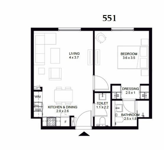 Planning of the apartment 1BR, 551 in The Boulevard, Sharjah