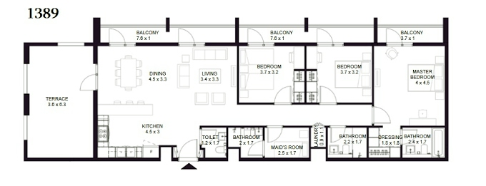 Planning of the apartment 3BR, 1389 in The Boulevard, Sharjah