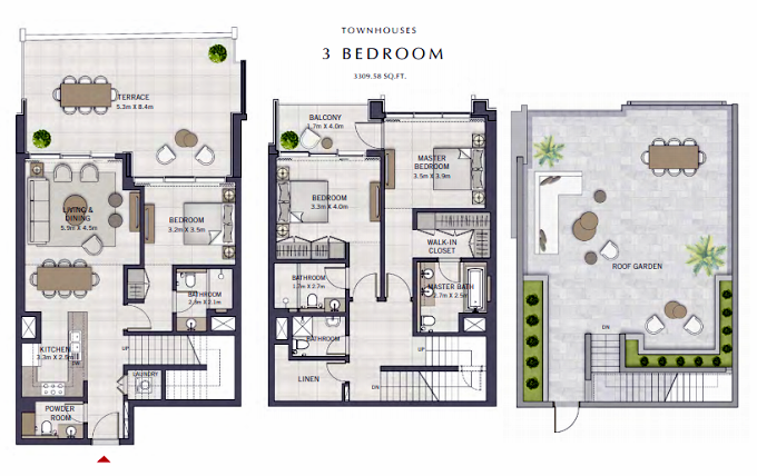 Planning of the apartment Townhouses, 3309.58 in The Grand, Dubai