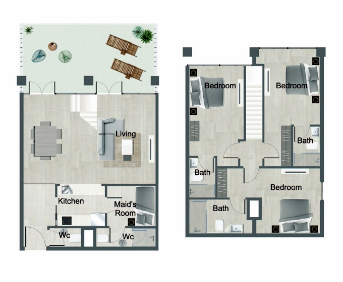 Planning of the apartment Townhouses, 1367.02 in Oasis Residences One, Abu Dhabi