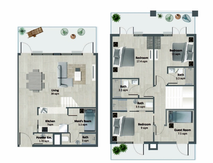 Planning of the apartment Duplexes, 1377.78 in Oasis Residences One, Abu Dhabi