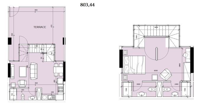 Planning of the apartment Duplexes, 803.44 in Oasis Residences Two, Abu Dhabi