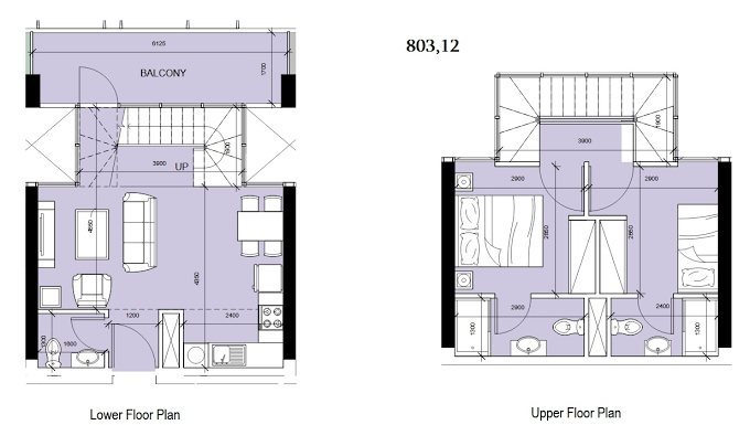 Planning of the apartment Duplexes, 803.12 in Oasis Residences Two, Abu Dhabi