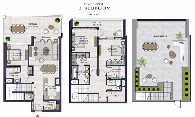 Planning of the apartment Townhouses, 3295.15 in The Grand, Dubai
