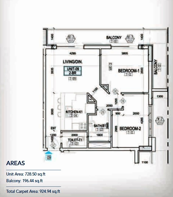 Planning of the apartment 2BR, 728.5 in Kappa Acca 3, Dubai