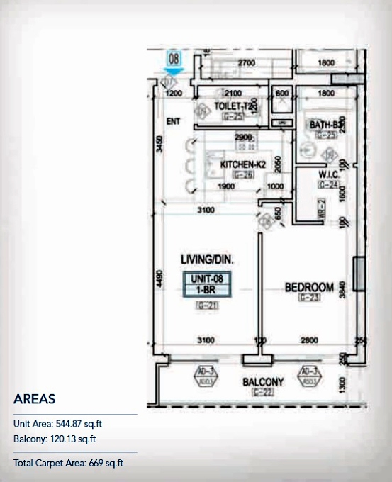 Planning of the apartment 1BR, 544.87 in Kappa Acca 3, Dubai
